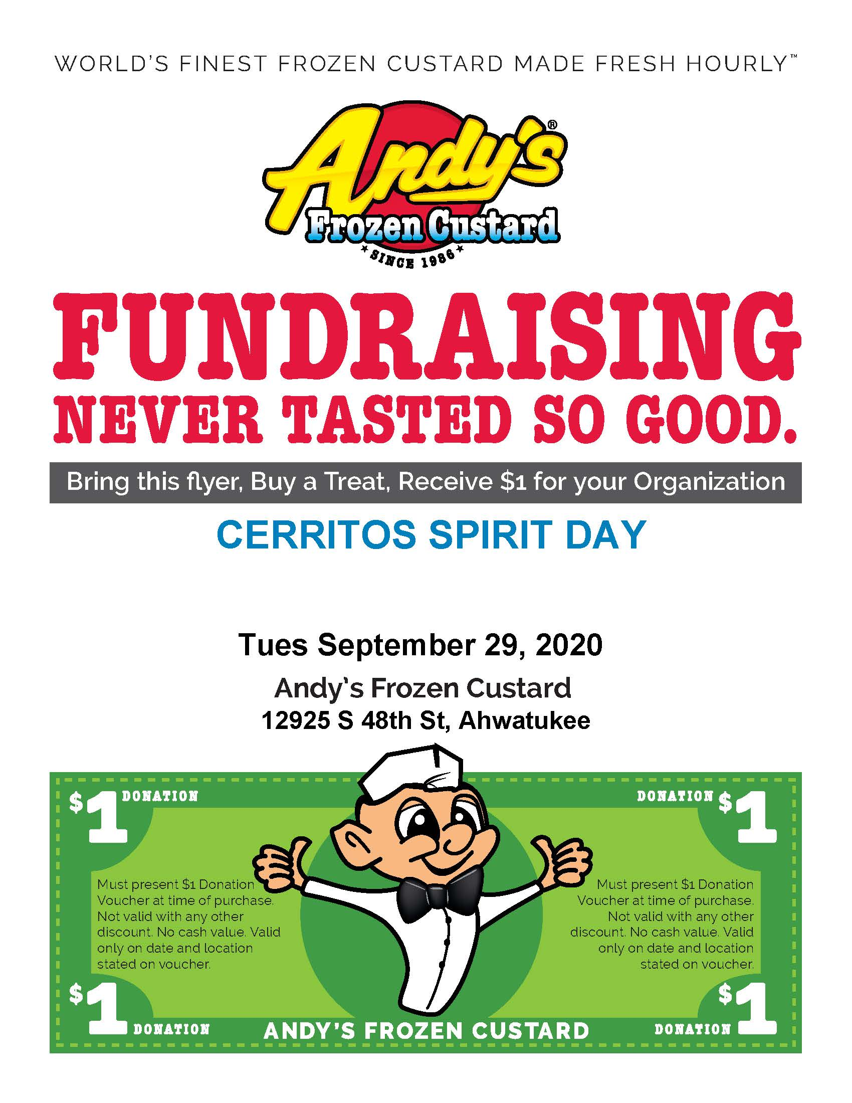Andy's Frozen Custard Spirit Day - Takeout Tuesday Fundraiser @ Andy's Frozen Custard | Phoenix | Arizona | United States